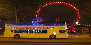 See London by Night:  Open Top Bus Tour<br>Adults £21, Under 16s £12<br>Family ticket £65 (2 Adults, 2 Children)<br>Under 5s go free